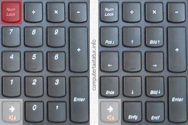 Notebook-Tastatur Ziffernblock NUM-Taste ein/aus